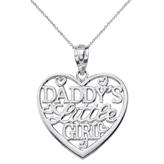 Sterling Silver Daddy's Little Girl Heart Pendant Necklace