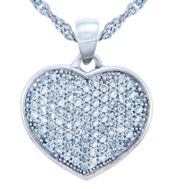 Valentines Special Heart Diamonds - White Gold Heart Paved with Diamonds (w Chain)