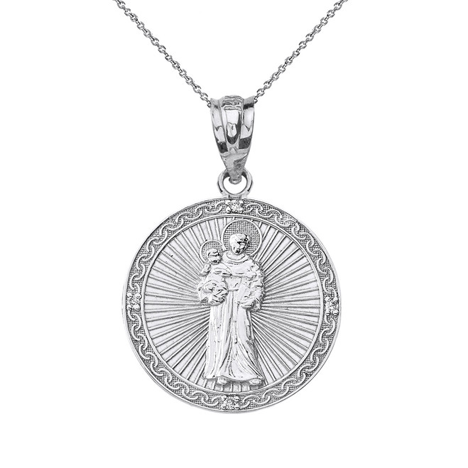 Sterling Silver Engravable CZ Saint Anthony Pray For Us Circle Pendant Necklace 1.06""