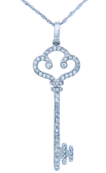 Valentines Special Heart Diamonds - Old-Fashioned White Gold Key Pendant with Diamonds (w Chain)