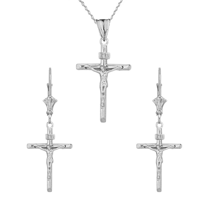 14K Dainty Crucifix Cross (INRI) Pendant Necklace Set in White Gold