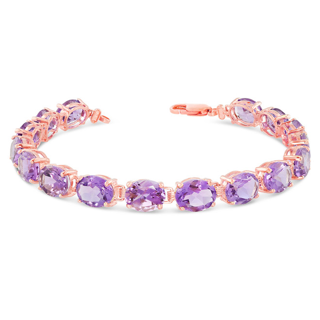 Oval Genuine Amethyst (9 x 7) Tennis Bracelet in Rose Gold