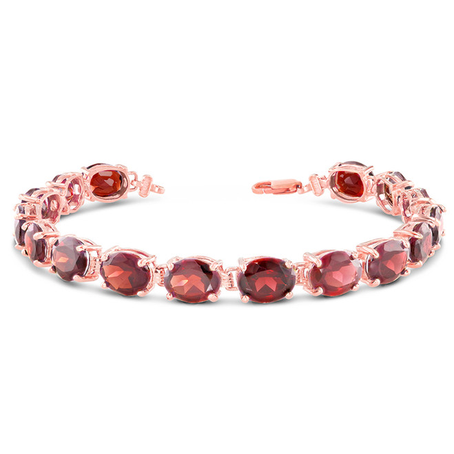 Oval Genuine Garnet (9 x 7) Tennis Bracelet in Rose Gold