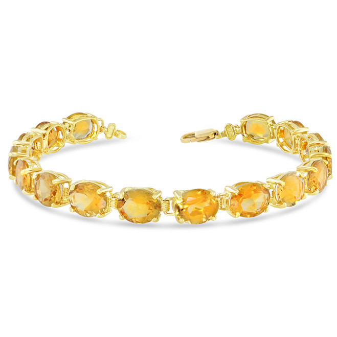 Oval Genuine Citrine (9 x 7) Tennis Bracelet in Yellow Gold