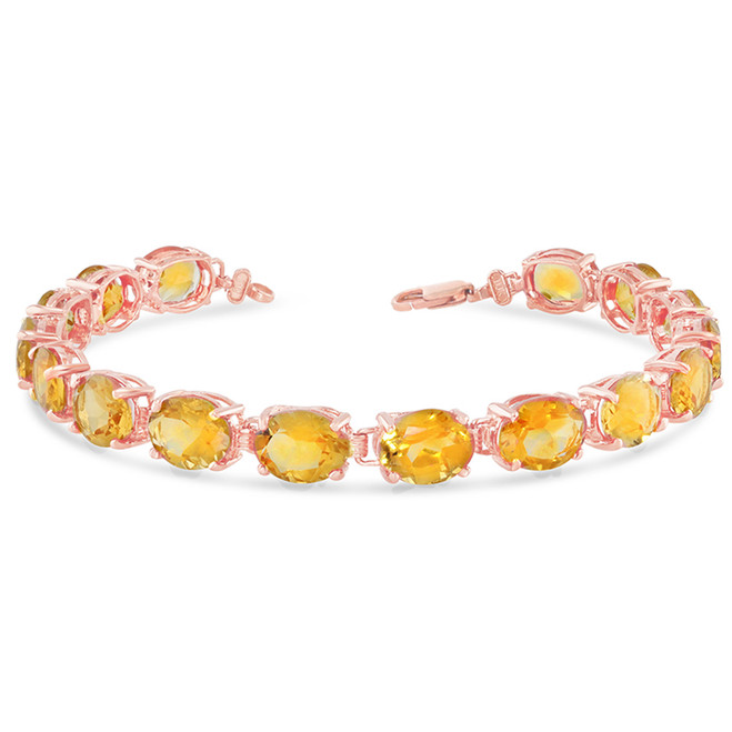 Oval Genuine Citrine (9 x 7) Tennis Bracelet in Rose Gold