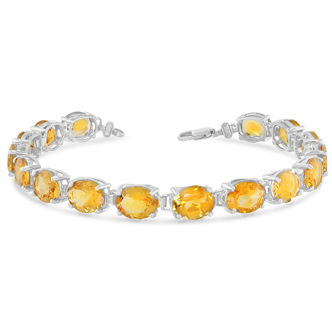Oval Genuine Citrine (9 x 7) Tennis Bracelet in White Gold