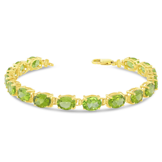 Oval Genuine Peridot (8 x 6) Tennis Bracelet in Yellow Gold