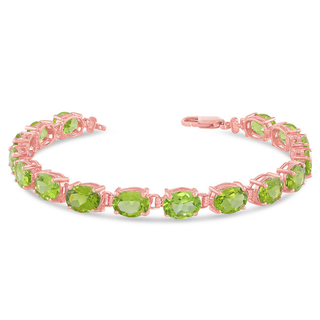 Oval Genuine Peridot (8 x 6) Tennis Bracelet in Rose Gold