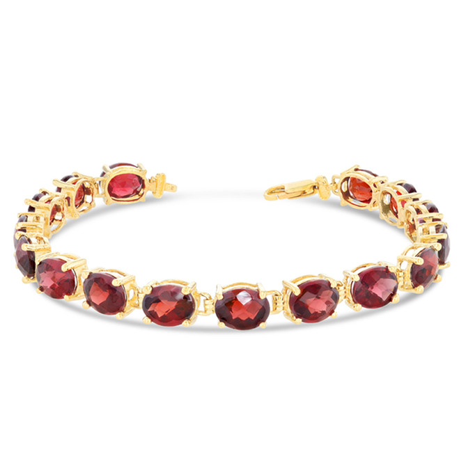 Oval Genuine Checkerboard Garnet (8 x 6) Tennis Bracelet in Yellow Gold