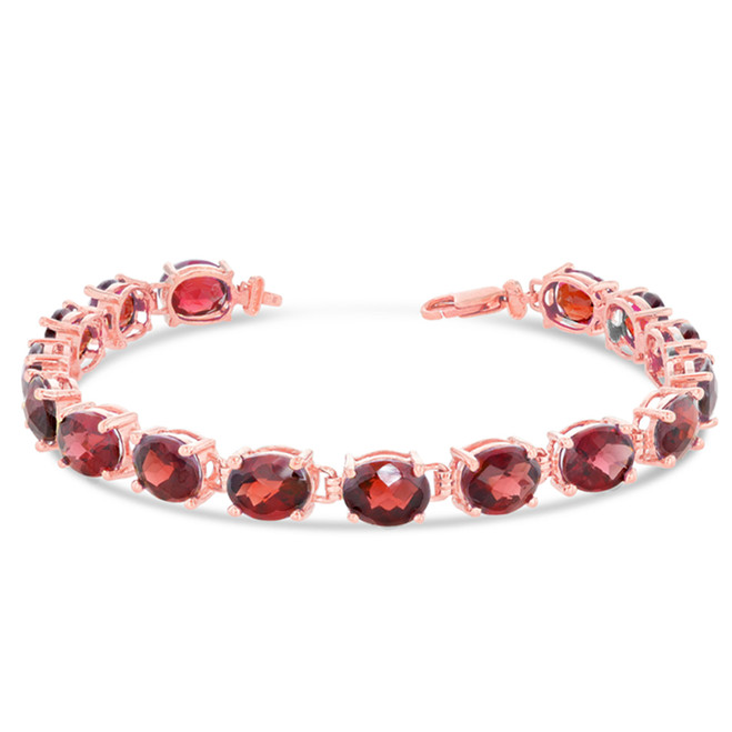 Oval Genuine Checkerboard Garnet (8 x 6) Tennis Bracelet in Rose Gold