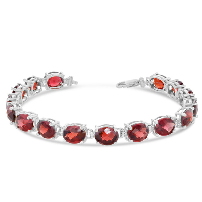Oval Genuine Checkerboard Garnet (8 x 6) Tennis Bracelet in White Gold