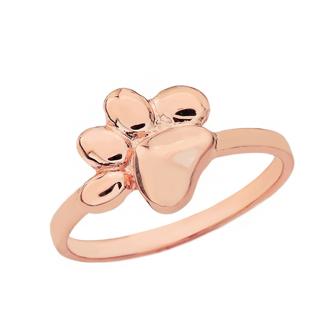 Solid Rose Gold Cat Foot Print Paw Ring