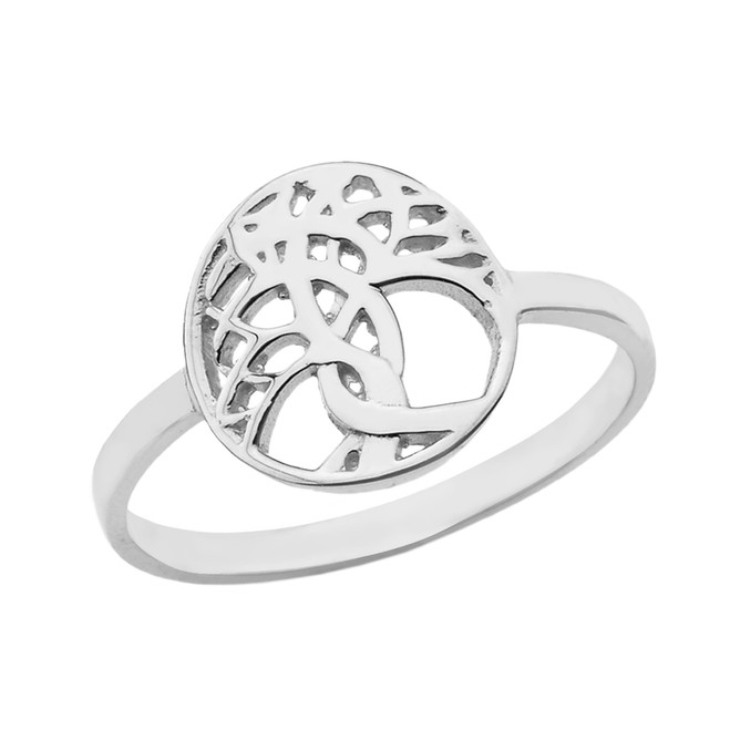 Solid White Gold Celtic Tree of Life Ring