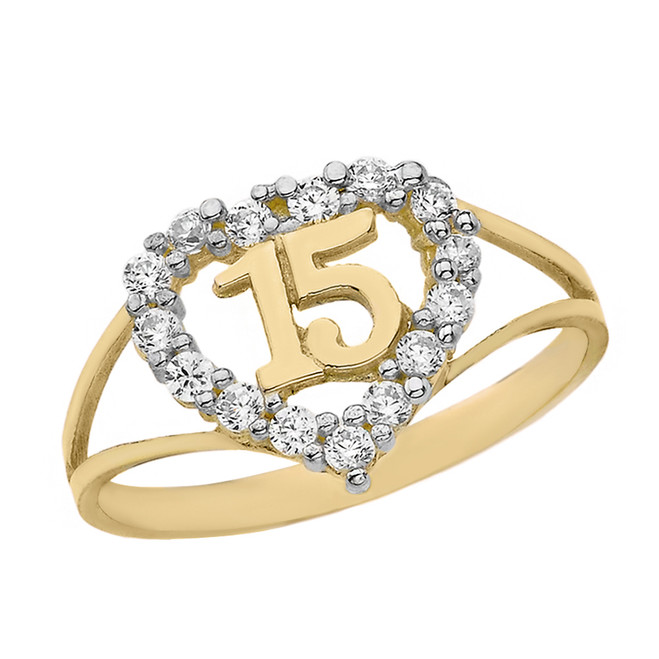 Solid Yellow Gold Split Shank CZ Heart Quinceañera Ring