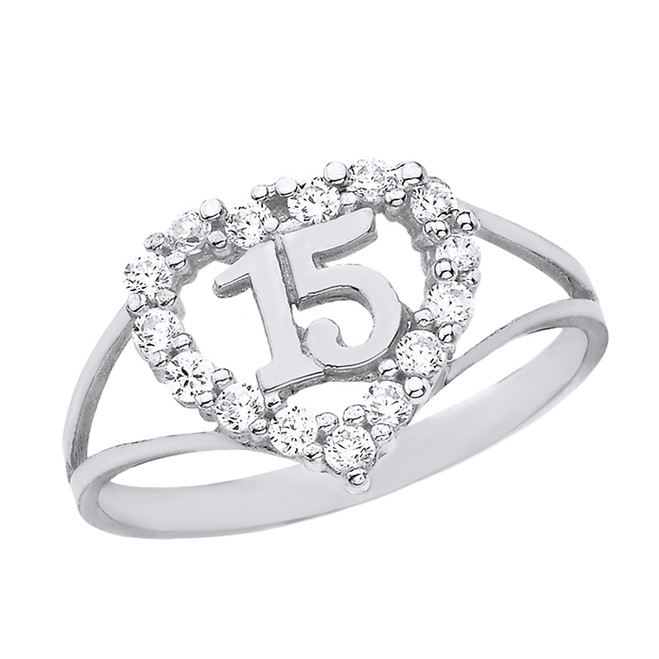Solid White Gold Split Shank CZ Heart Quinceañera Ring