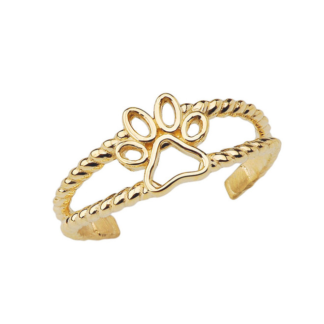 Dog Paw Rope Toe Ring in Yellow Gold