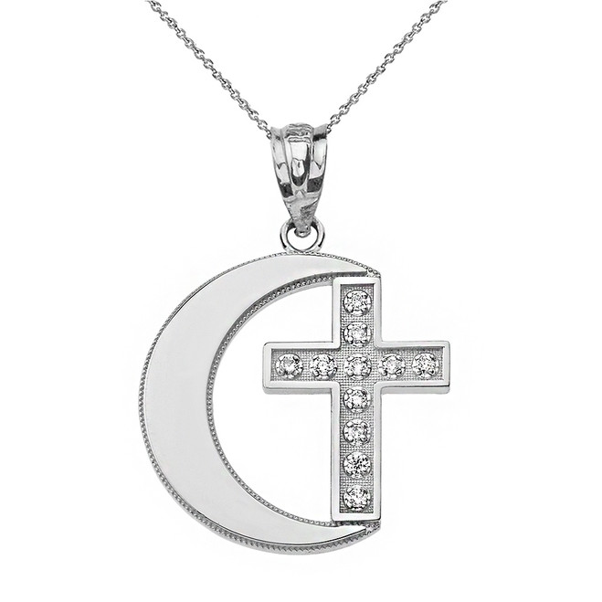 Sterling Silver CZ Crescent Moon and Cross Pendant Necklace
