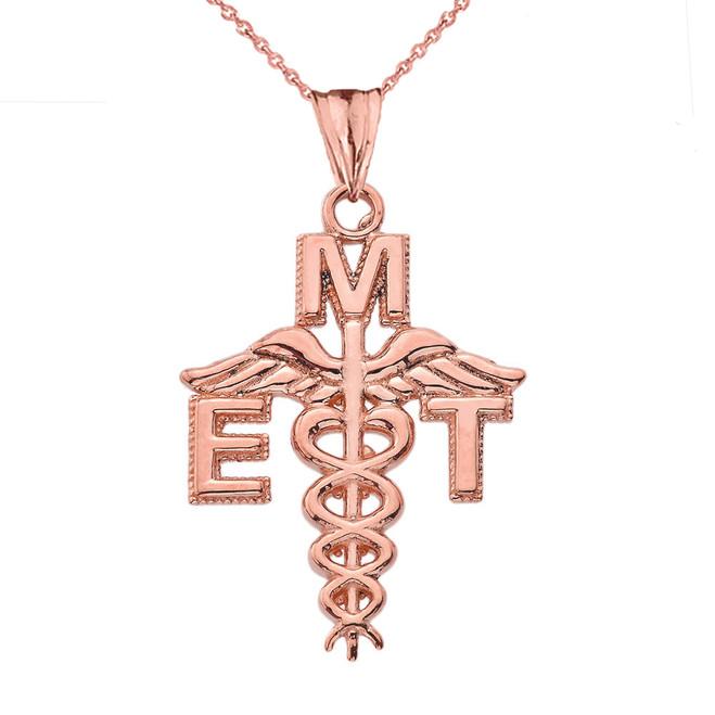 Caduceus EMT Pendant Necklace in Rose Gold