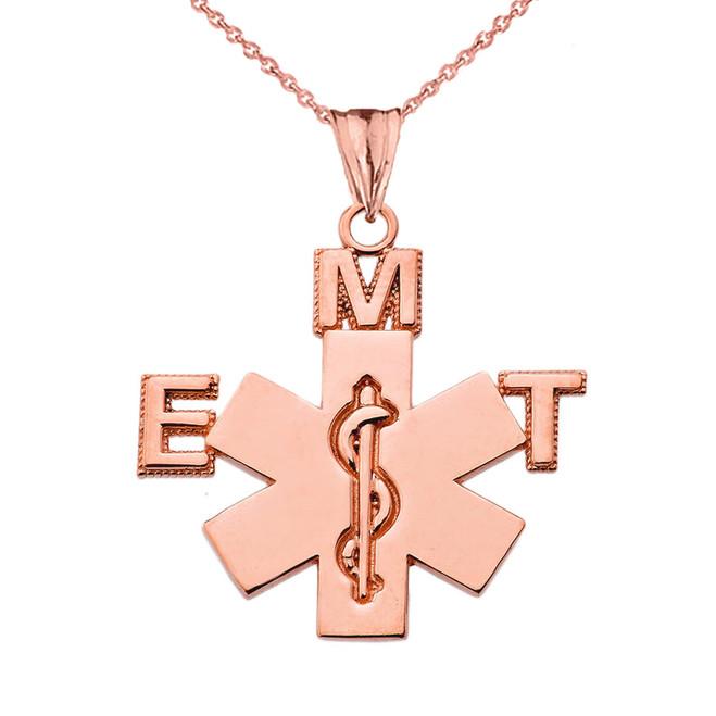 Emergency Medical Technician (EMT) Pendant Necklace in Rose Gold