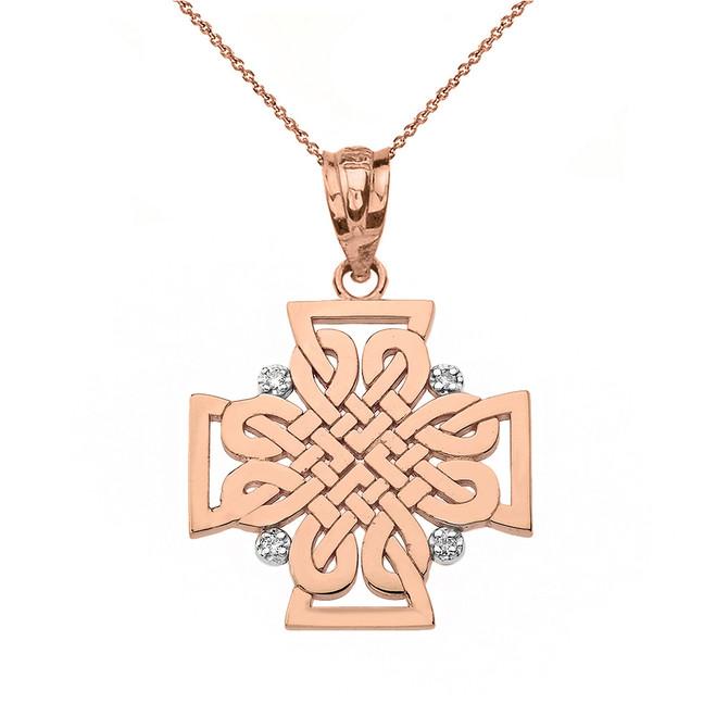 Solid Rose Gold Diamond Celtic Woven Cross Pendant Necklace