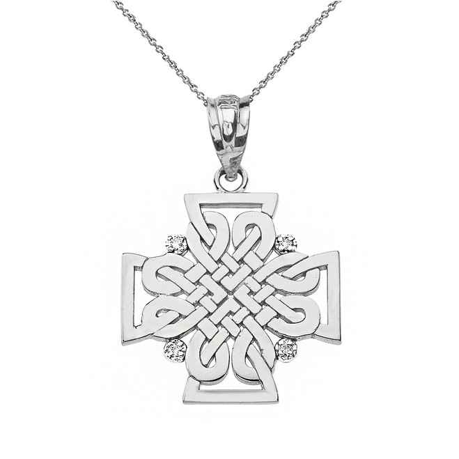 Solid White Gold Diamond Celtic Woven Cross Pendant Necklace