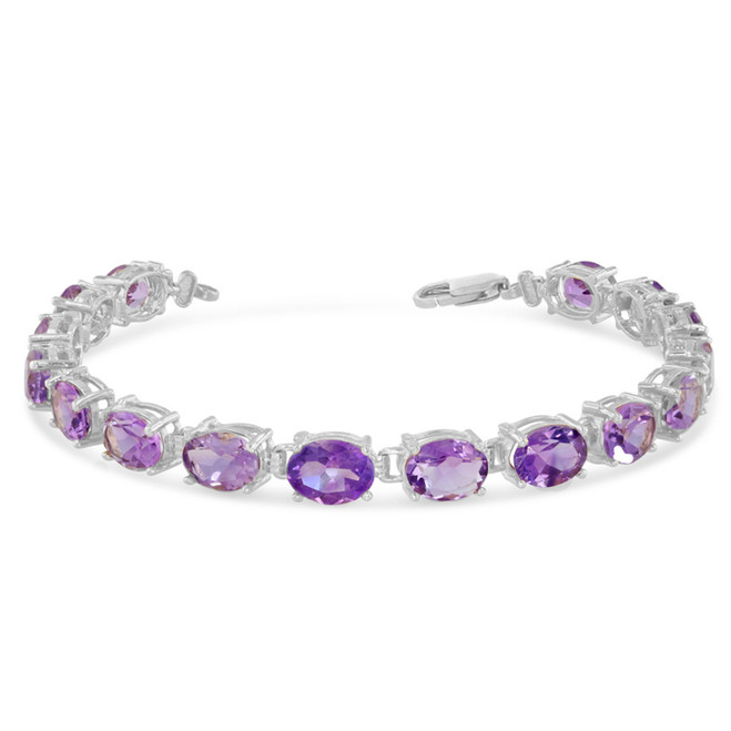 Oval Genuine Amethyst (8 x 6) Tennis Bracelet in Sterling Silver