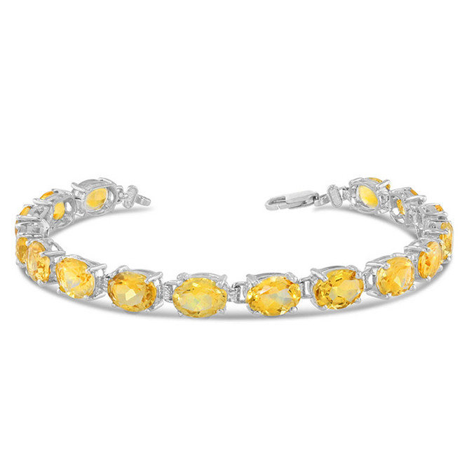 Oval Genuine Citrine (8 x 6) Tennis Bracelet in Sterling Silver