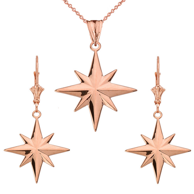 North Star Pendant Necklace Set in 14K Rose Gold