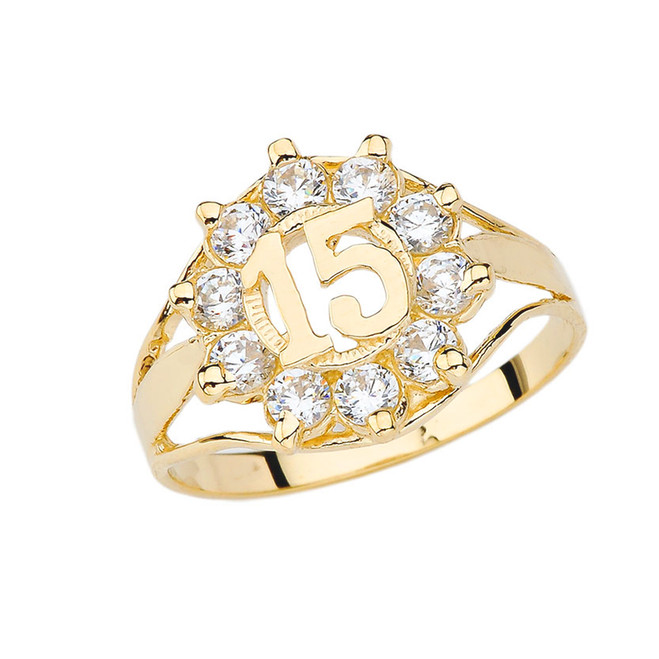 Quinceañera Cubic Zirconia Ring in Yellow Gold