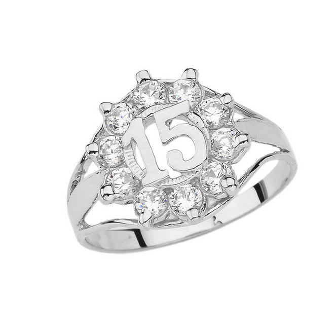 Quinceañera Cubic Zirconia Ring in Sterling Silver