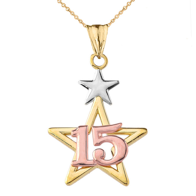 Dainty Quinceañera Star Pendant Necklace in Tri-Color Gold