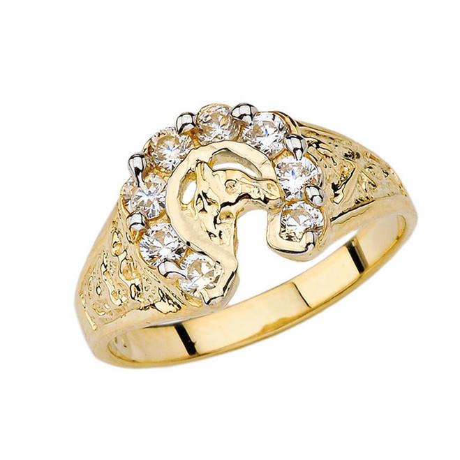 Lucky Horseshoe Ring in Yellow Gold with 1 CT C.Z