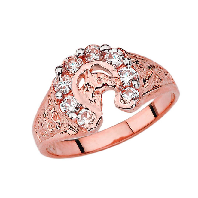 Lucky Horseshoe Ring in Rose Gold with 1 CT C.Z