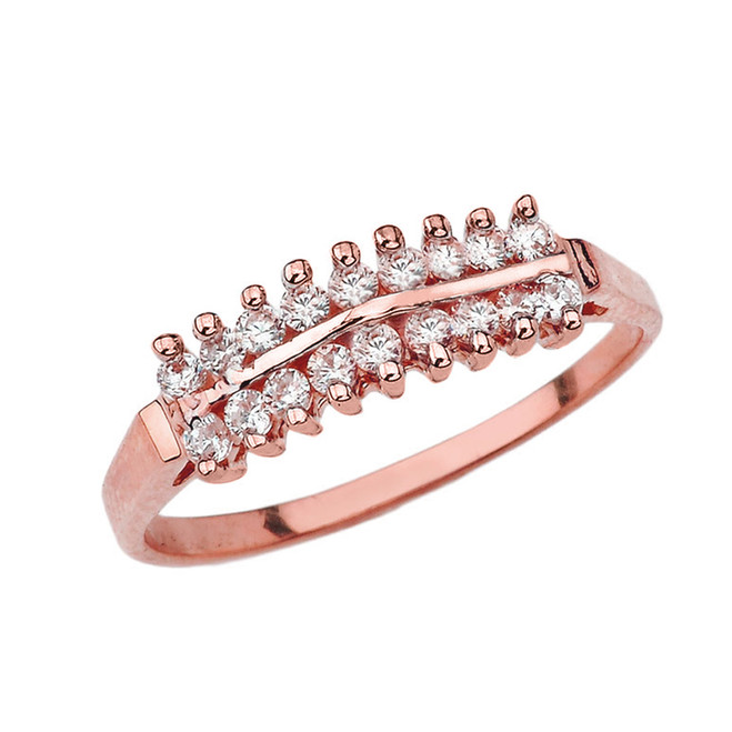 Elegant ½ CT C.Z Pyramid Ring in Rose Gold