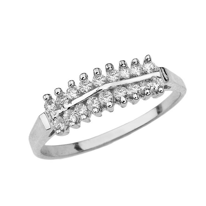 Elegant ½ CT C.Z Pyramid Ring in White Gold
