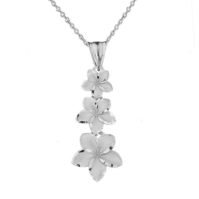 Elegant Plumeria Flower Pendant Necklace in Sterling Silver