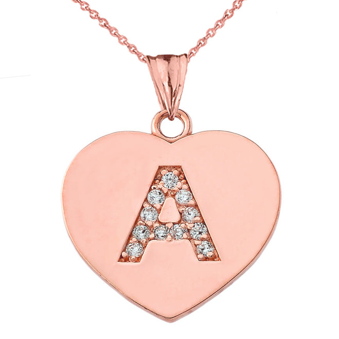 "Diamond Initial ""A"" Heart Pendant Necklace in Rose Gold"