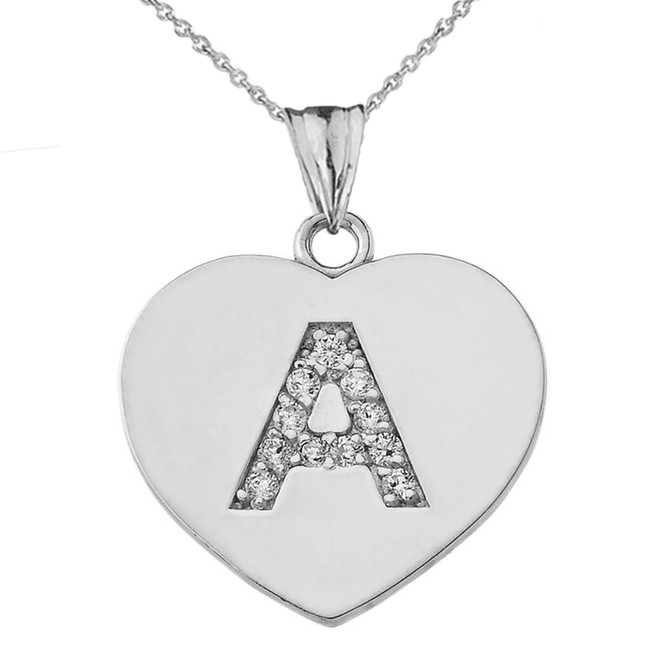 "Cubic Zirconia Initial ""A"" Heart Pendant Necklace in Sterling Silver"
