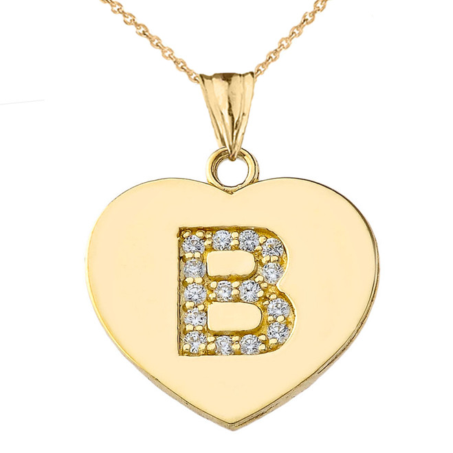 "Diamond Initial ""B"" Heart Pendant Necklace in Yellow Gold"