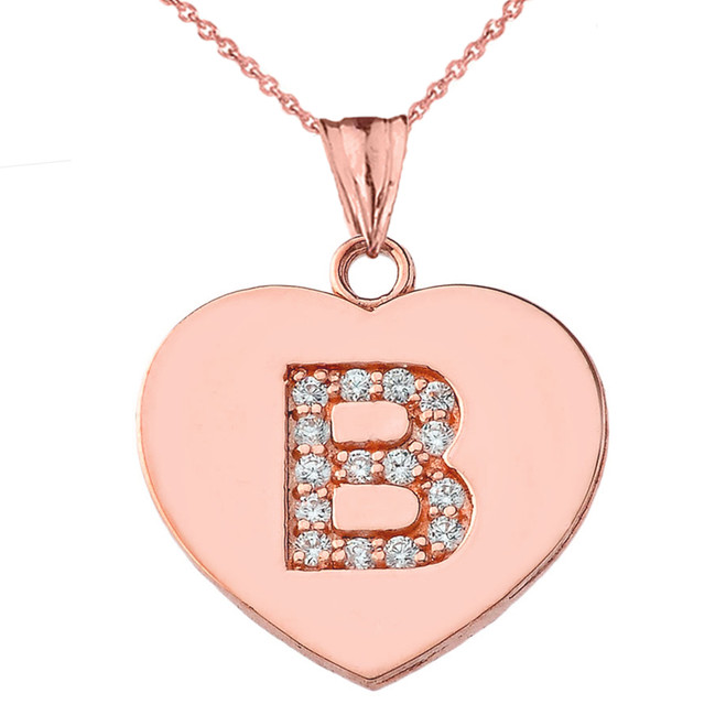 "Diamond Initial ""B"" Heart Pendant Necklace in Rose Gold"