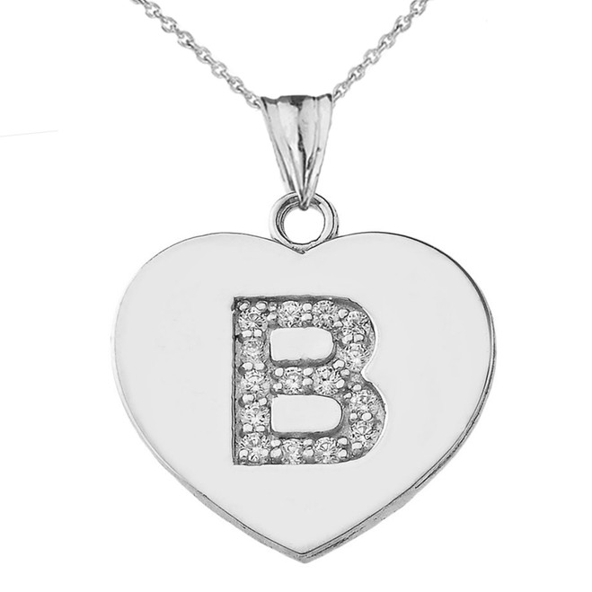 "Diamond Initial ""B"" Heart Pendant Necklace in White Gold"