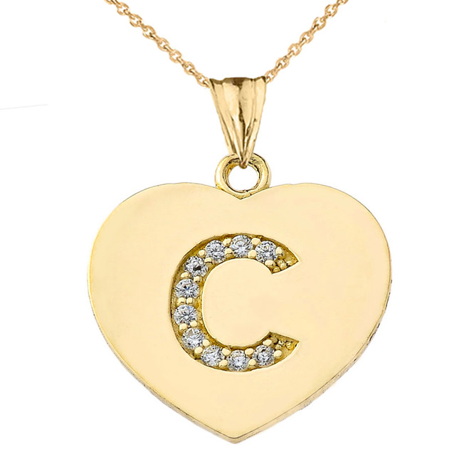 "Diamond Initial ""C"" Heart Pendant Necklace in Yellow Gold"