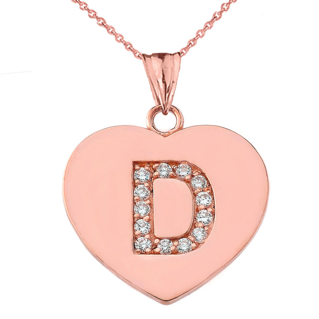 "Diamond Initial ""D"" Heart Pendant Necklace in Rose Gold"