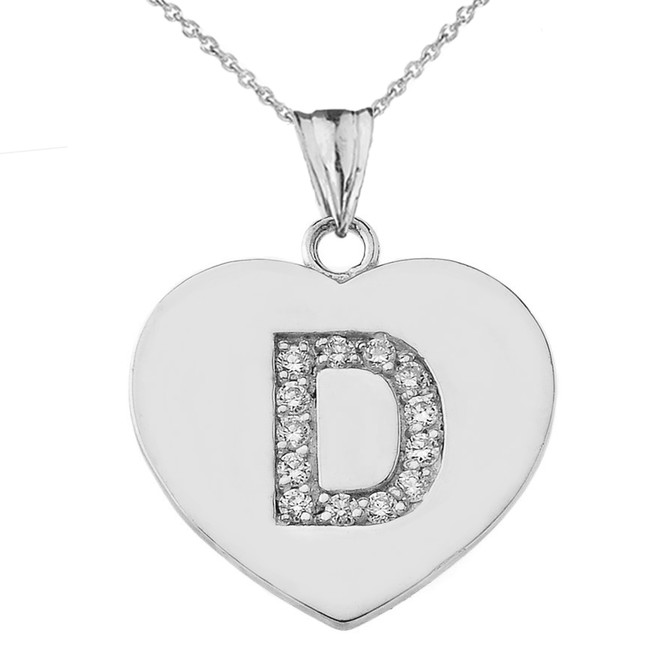"Diamond Initial ""D"" Heart Pendant Necklace in White Gold"