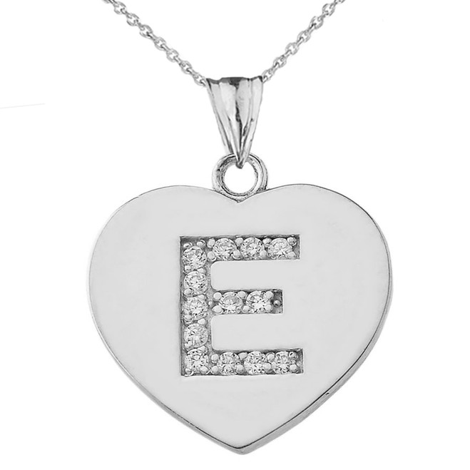 "Cubic Zirconia Initial ""E"" Heart Pendant Necklace in Sterling Silver"