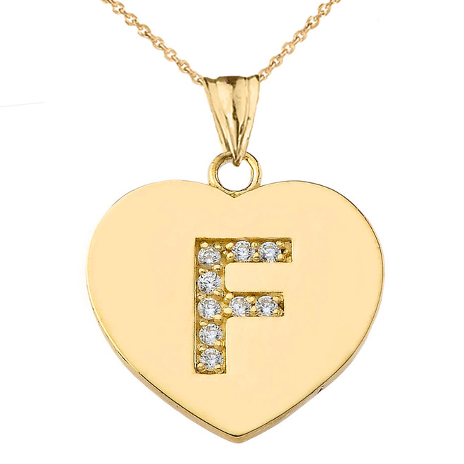 "Diamond Initial ""F"" Heart Pendant Necklace in Yellow Gold"