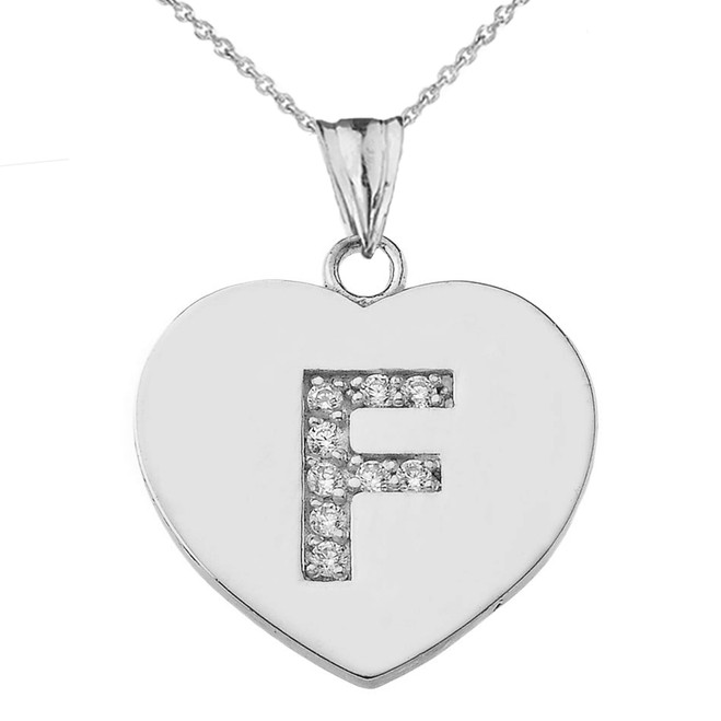 "Diamond Initial ""F"" Heart Pendant Necklace in White Gold"