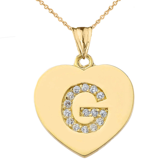 "Diamond Initial ""G"" Heart Pendant Necklace in Yellow Gold"