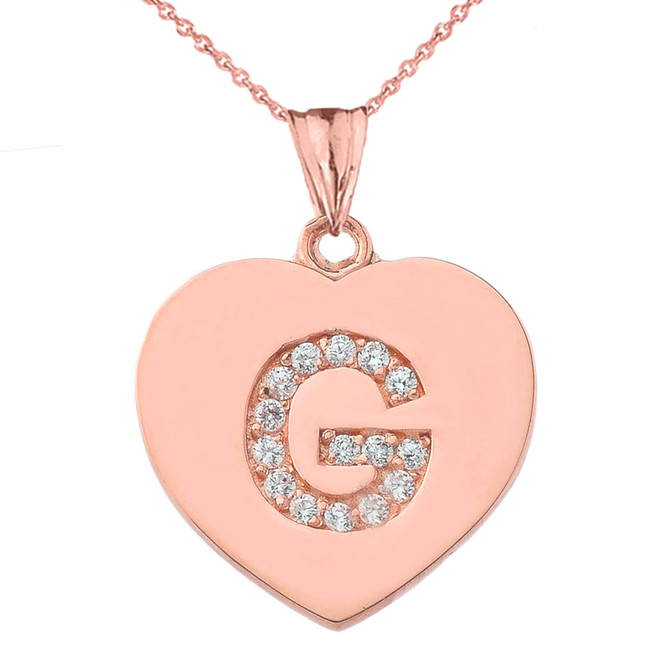 """Diamond Initial """"G"""" Heart Pendant Necklace in Rose Gold"""