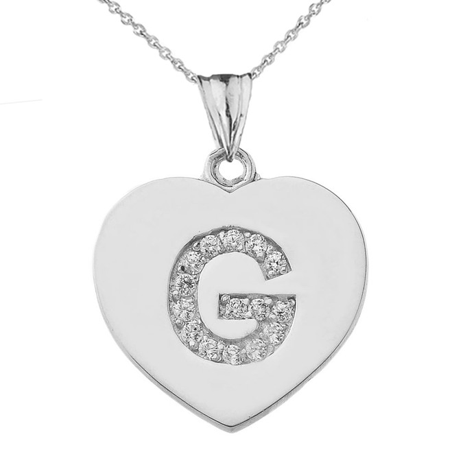 "Diamond Initial ""G"" Heart Pendant Necklace in White Gold"